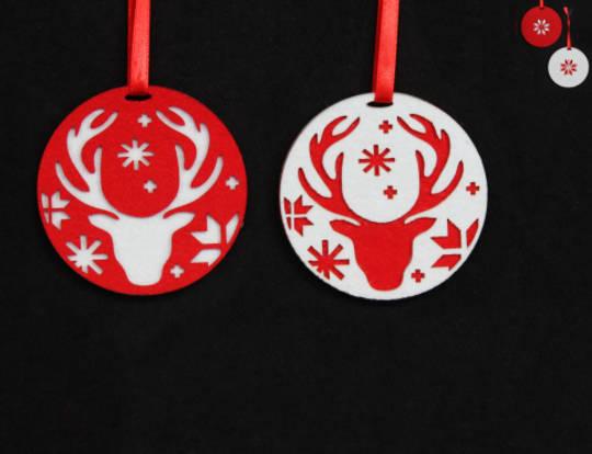 Felt Disc Scandi Snowflake Reindeer
