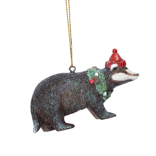Resin Badger in Santa Hat 8cm