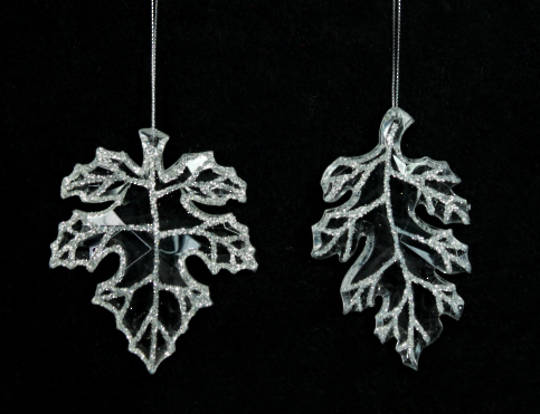 Clear Acrylic and Glitter Leaf