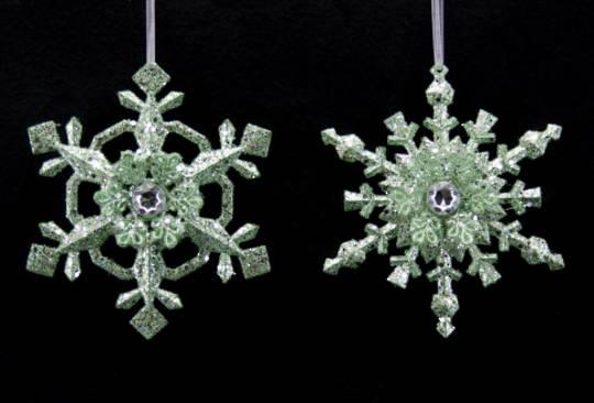 Acrylic Pale Green Glitter Snowflake