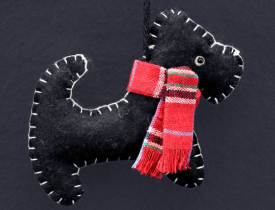 Felt Stitched Black Scottie Dog 10cm