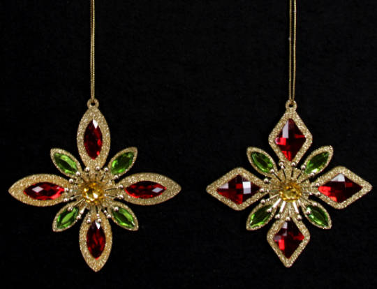Metal Gold Glitter with Red and Green Gemstone