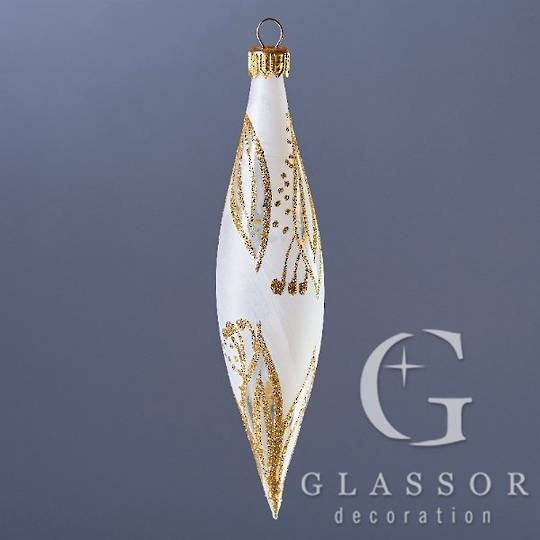 Glass Olive Trans White, Gold Decor 16cm