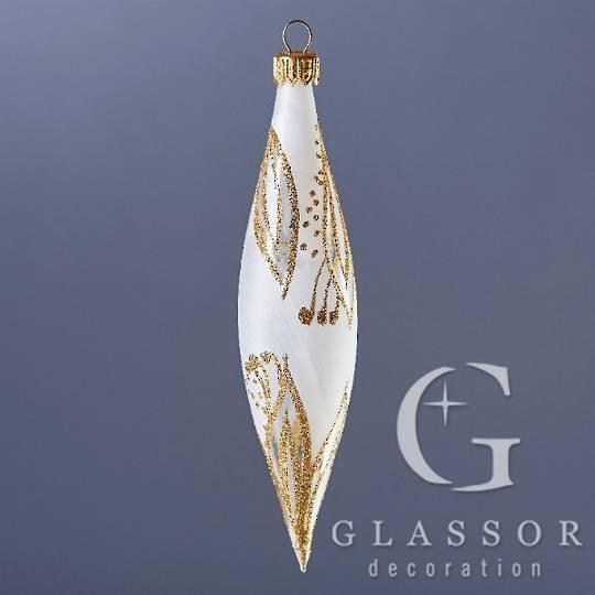 Glass Olive Trans White, Gold Decor 16cm