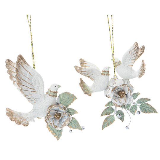 Resin Flying Doves on Metal Flowers 8cm