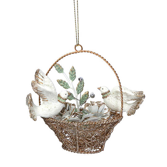Resin Doves in Gold Wire Basket 7cm