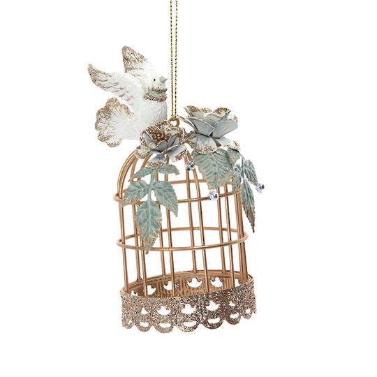 Resin Doves on Gold Wire Cage 11cm