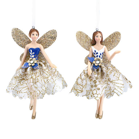 Resin Fabric Gold Blue Fairy 13cm
