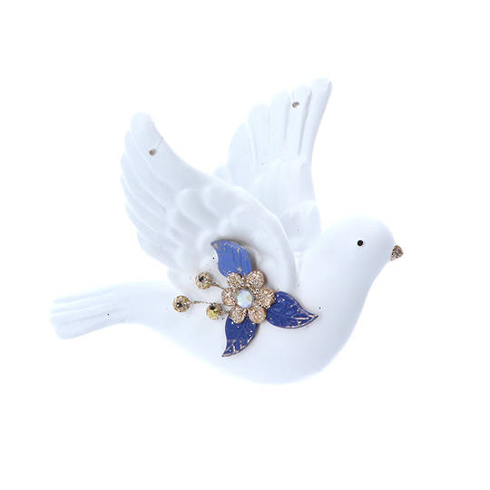 Resin White Gold Blue Flying Dove 9cm