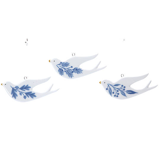 Ceramic White Blue Flat Dove 9cm