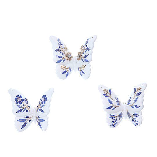 Resin White Blue Gold Butterfly 7cm