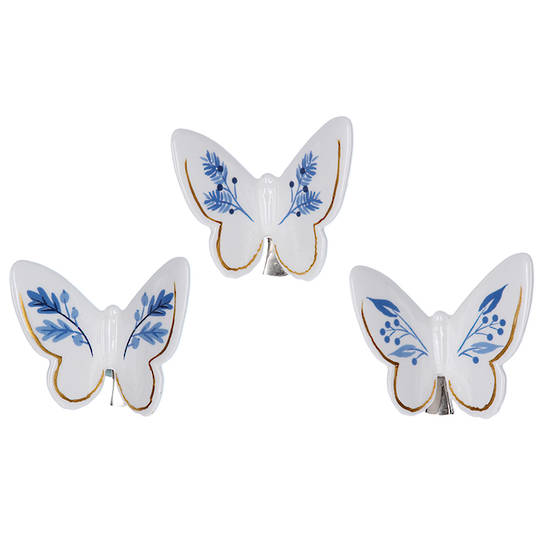 Ceramic White Blue Gold Butterfly 7cm