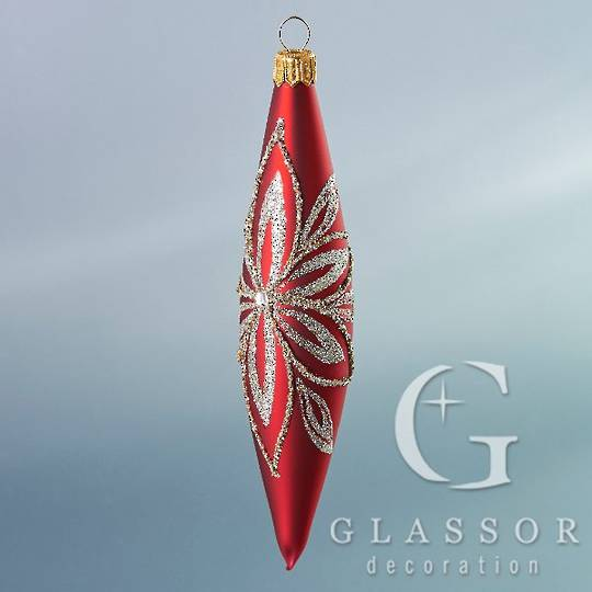 Glass Olive Red, Platinum Decor 16cm