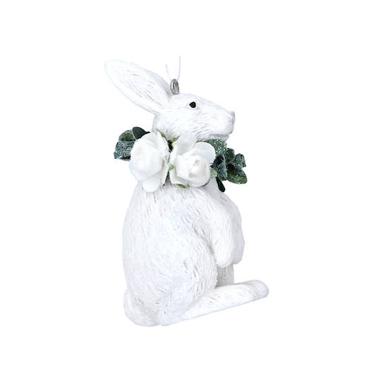 Resin White Flower Rabbit 7cm