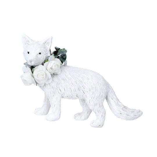 Resin White Flower Fox 9cm