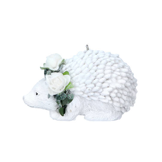 Resin White Flower Hedgehog 6cm