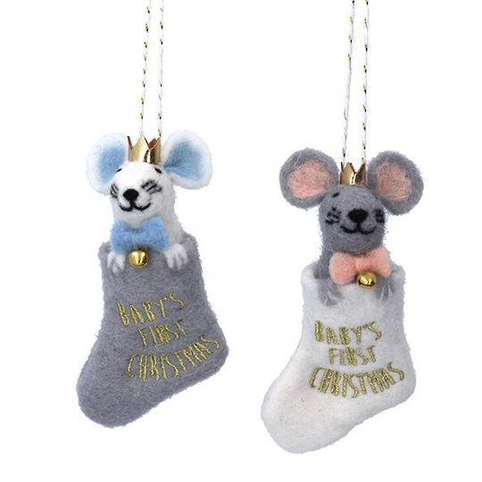 Wool Baby's First Christmas Mouse in Stocking 13cm