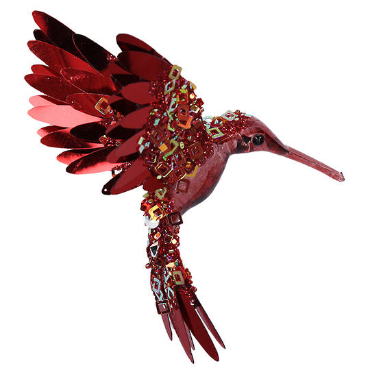 Bling Burgundy Flying HummingBird 15cm