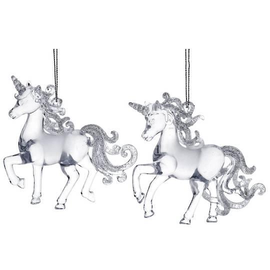 Clear Silver Acrylic Unicorn 11cm