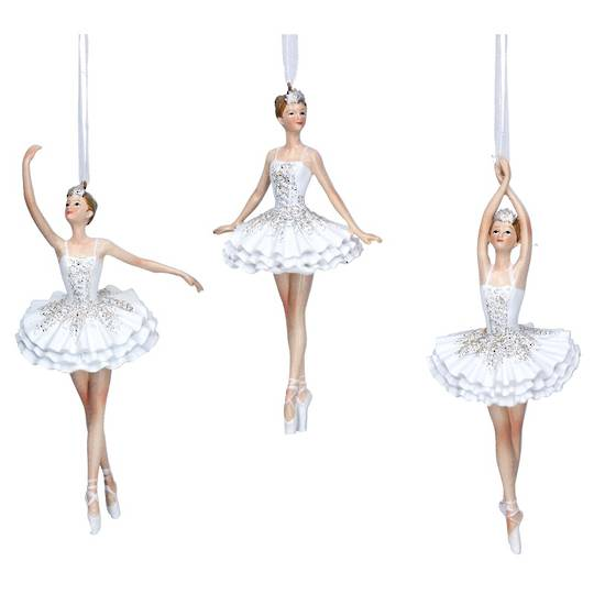 Resin White  Glitter Fairy Ballerina 14cm