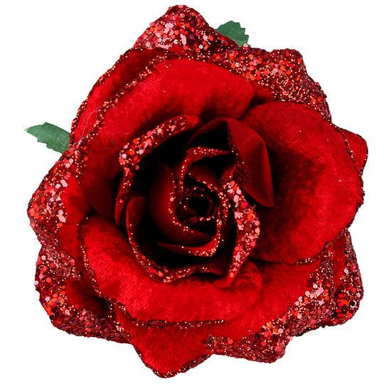 Fabric Glitter Red Rose Clip 11cm