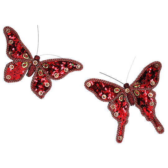 Fabric Red Sequin Butterfly Clip 17cm