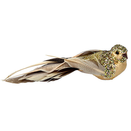 BirdClip TwoTone GoldFeather 18cm