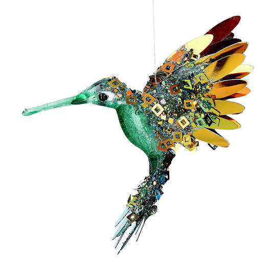 Bling Green Gold Flying HummingBird 15cm