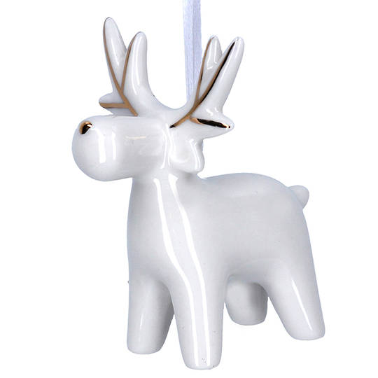 Ceramic White Gold Reindeer 7cm