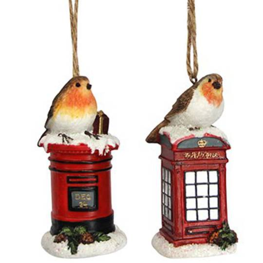 Resin Robin on Letter/Phone Box 9cm