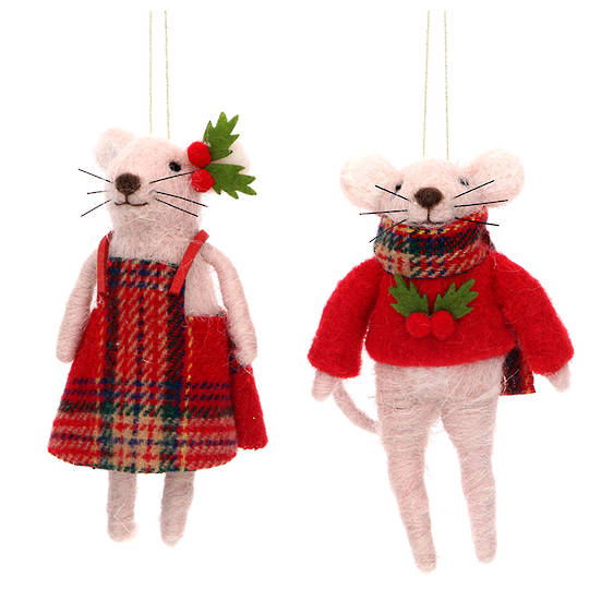 Wool Mr or Mrs Mouse 12cm