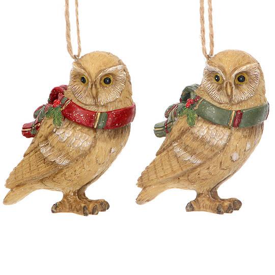 Resin Owl Tartan Scarf 6cm