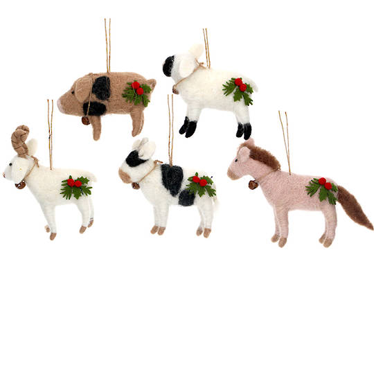 Wool Farm Animals 9cm