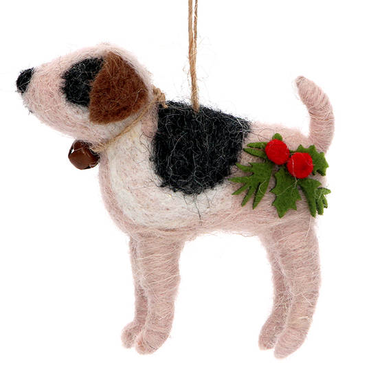 Wool Xmas Dog 9cm SOLD OUT