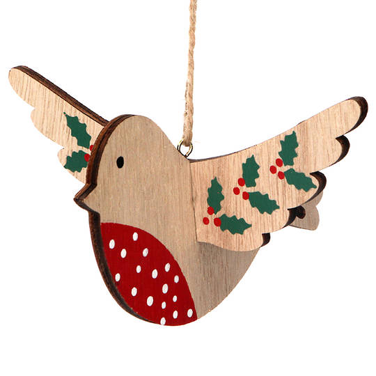 Wood Flying Robin with Holly 15cm