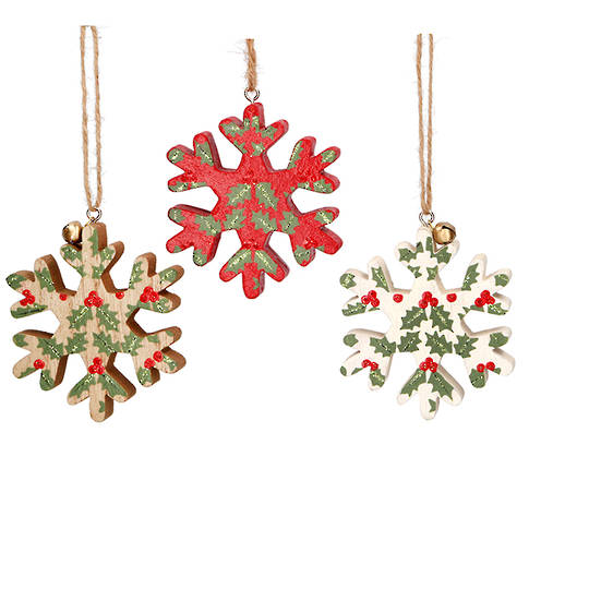 Wood Snowflake with Holly 8cm