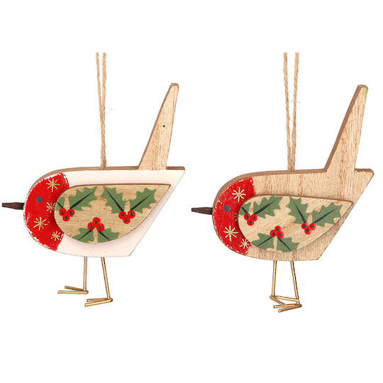 Wood Robin with Holly 12cm
