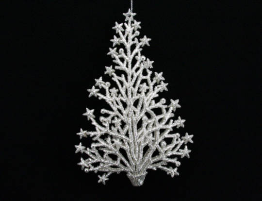 Silver Glitter Twig/Star Tree 12cm