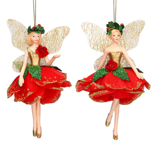 Resin Fairy Red Rose Dress 13cm