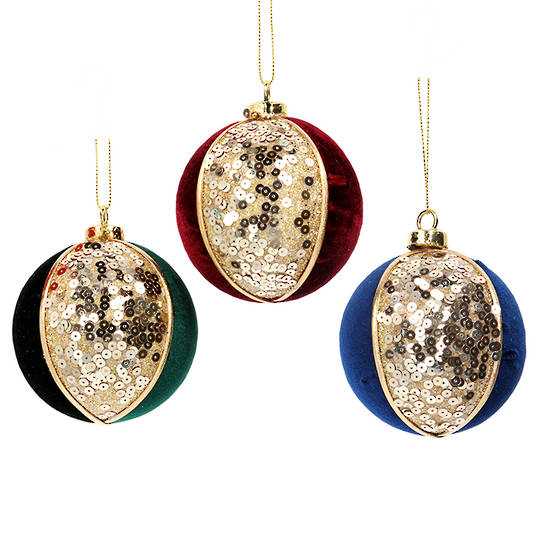 Glass Ball Fabric and Gold Sequin 8cm