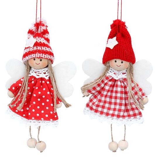 Nordic Noel Spot or Check Dressed Girl 8cm