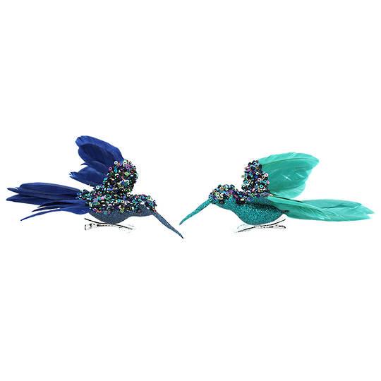 Petrol Sequin Feather Humming Bird 16cm
