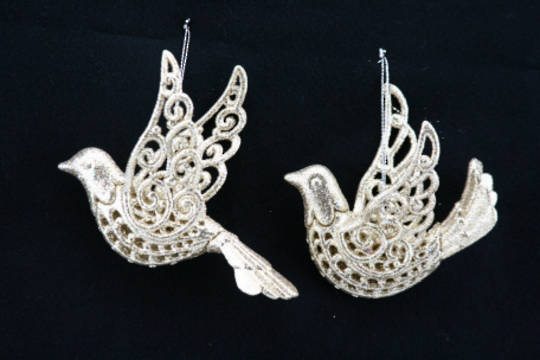 Resin and Glitter Dove 11cm each