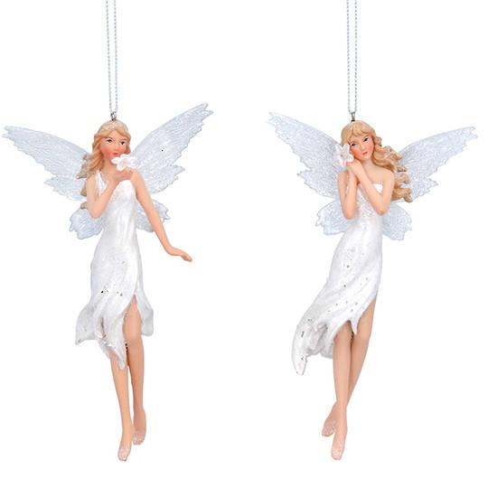 Resin White Fairy with Flower 15cm
