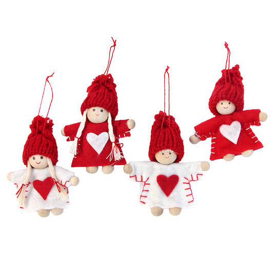 Felt Red & White Mini Children 4cm Each