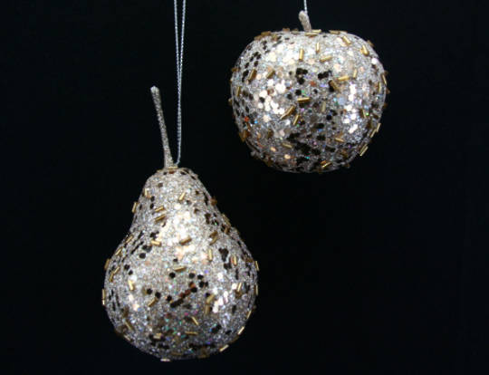 Pale Gold Glitter and Sequin Apple or Pear 9cm