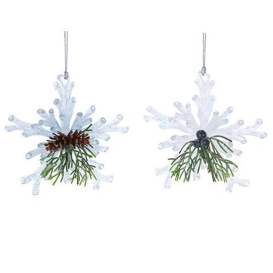 Acrylic White Snowflake with Fir 11cm