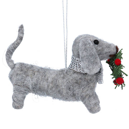 Wool Xmas Dachshund 14cm SOLD OUT