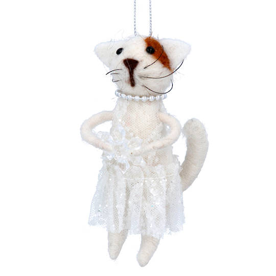 Wool Cat in Dress and Pearls 11cm
