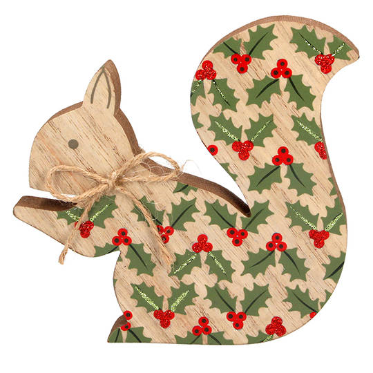 Wood Squirrel with Holly 14cm